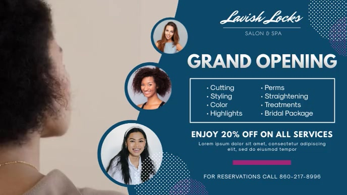 Blue Hair Salon Grand Opening Banner Видеообложка профиля Facebook (16:9) template