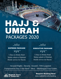 Blue Hajj and Umrah Package Flyer template