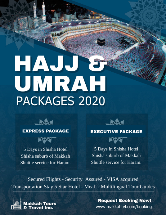 Blue Hajj and Umrah Package Flyer Template | PosterMyWall