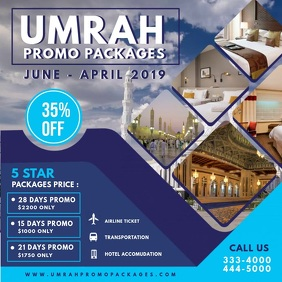Blue Hajj and Umrah Travel Agency Advert Instagram Post template