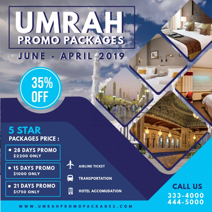 Blue Hajj and Umrah Travel Agency Advert Template ...