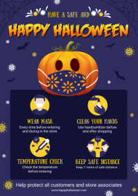 Blue Halloween Coronavirus Prevention Guideli A4 template