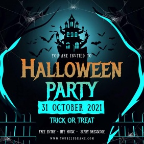 Blue Halloween Party Invite Animated Instagram Post template