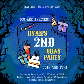 Blue Halloween themed Birthday Invitation Instagram Image