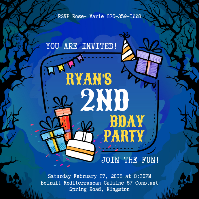 Blue Halloween Themed Birthday Invitation Instagram Image
