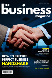 Blue handshake business magazine cover Poster template