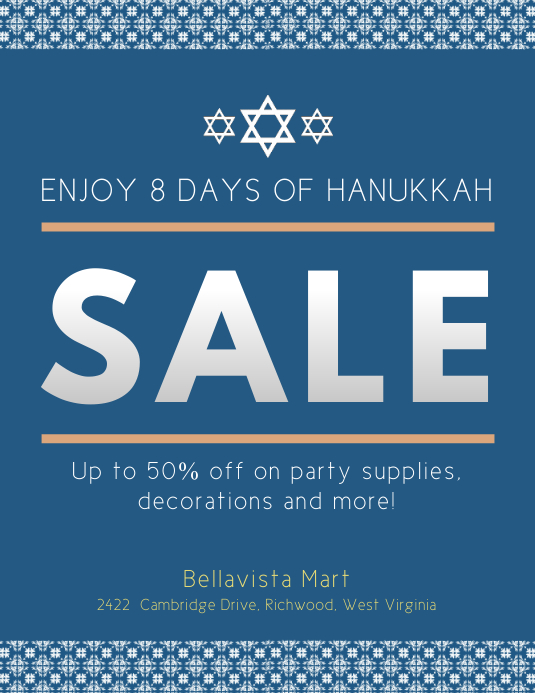 Blue Hanukkah Sale Flyer Template