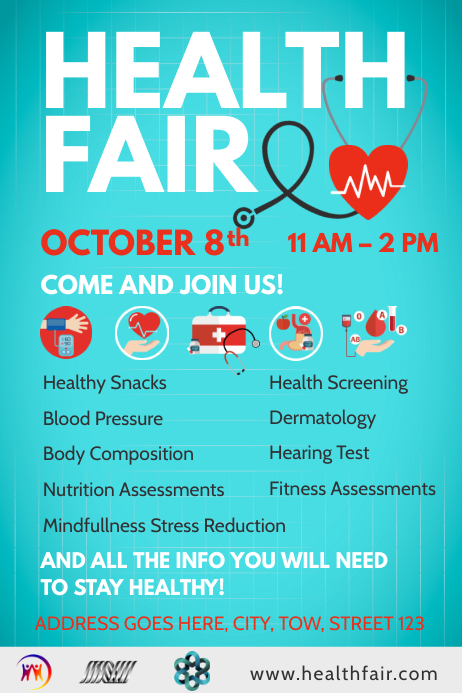 Blue Health Fair Poster Template on body building a cart