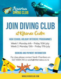 Blue high school diving club flyer template