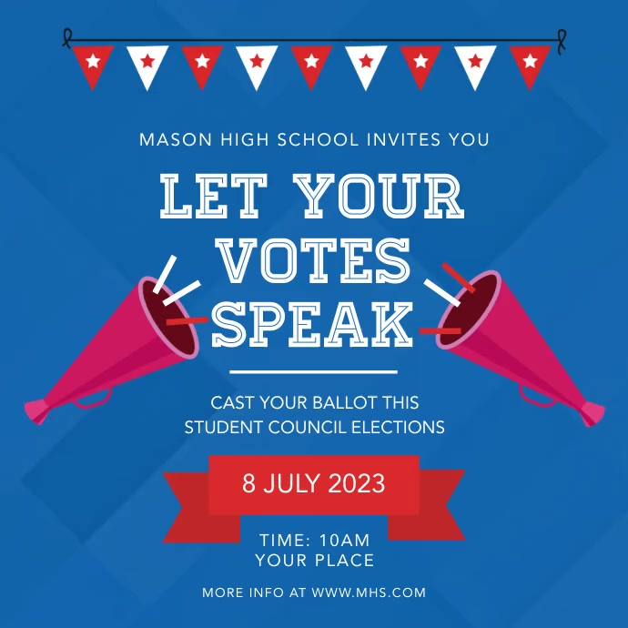 Blue High School Election Campaign Square Video