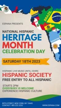 Blue Hispanic Heritage month digital signage 数字显示屏 (9:16) template