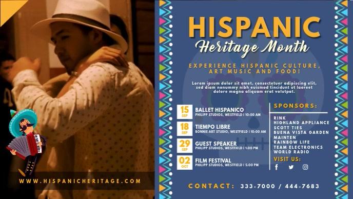 Blue Hispanic Heritage Month Event Invite Vid