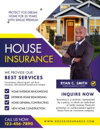 Blue Home Insurance Services Flyer Template Рекламная листовка (US Letter)