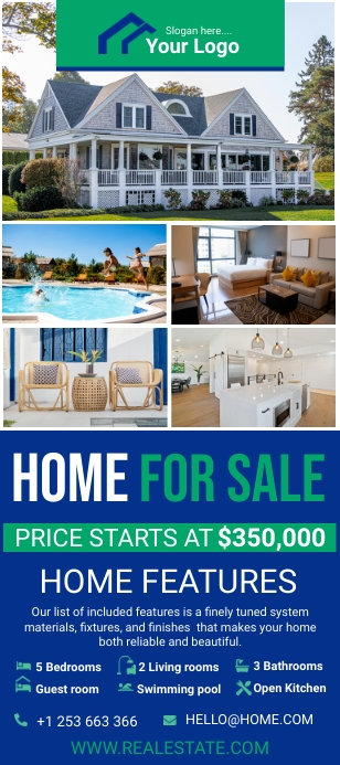 Blue house for sale real estate rack card template