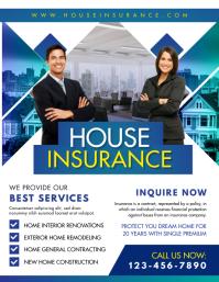 Blue House Insurance Agent Service Flyer Temp Рекламная листовка (US Letter) template