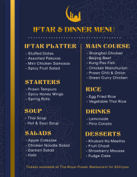 Blue Iftar and Dinner Menu Design