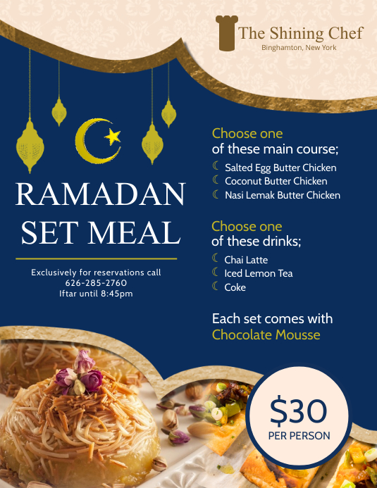 Blue Iftar Deals Menu Design Template