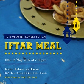 Blue Iftar Party Invitation
