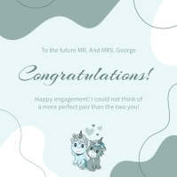 Blue illustrated wedding congratulations card Instagram Post template