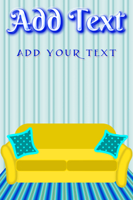 blue interior design with couch sofa and pillows