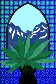 blue interior or garden design - succulent plant & ceramic tiles