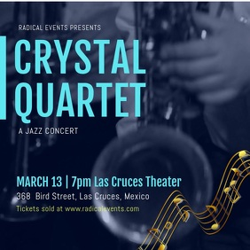 Blue Jazz Concert Advertisement for Social Media Template