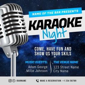 Blue Karaoke Night Event Square Video