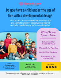 Blue Kids Speech Therapy Service Flyer Templa 传单(美国信函) template