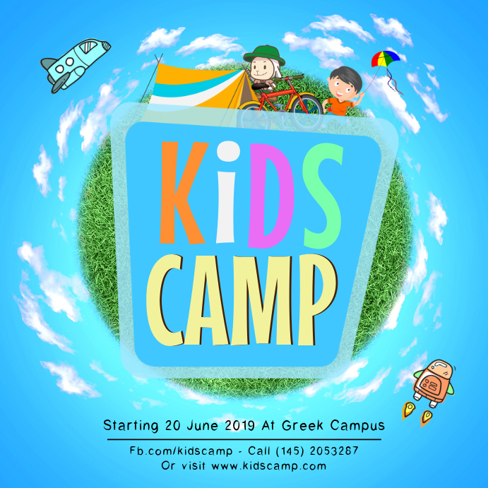 Blue Kids Summer Camp Instagram Ad