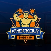 Blue Knockout Boxing Gym Logo Template
