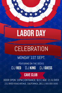 Blue Labor Day Celebration Poster template