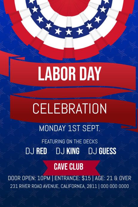 Blue Labor Day Celebration Poster Póster template