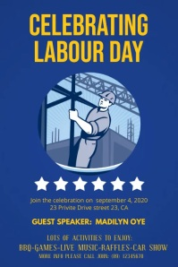 Blue Labour Day Seminar Display Video Poster template