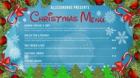 Blue Landscape Christmas Video Menu Digital Display (16:9) template