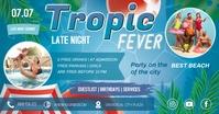 Blue Late Night Tropical Fever Facebook Post Obraz udostępniany na Facebooku template