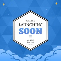 Blue Launching Soon Instagram Video Cuadrado (1:1) template