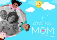 Blue Love you Mom Postcard Pocztówka template