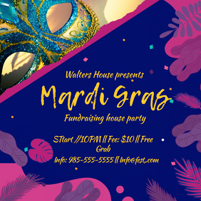 Blue Mardi Gras Party Invitation