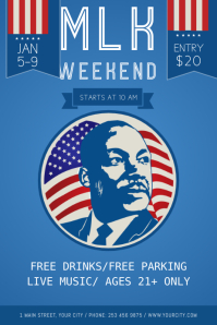 Blue Martin Luther King Jr. Day Poster