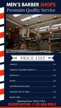 Blue Men's Barber Shop Price List