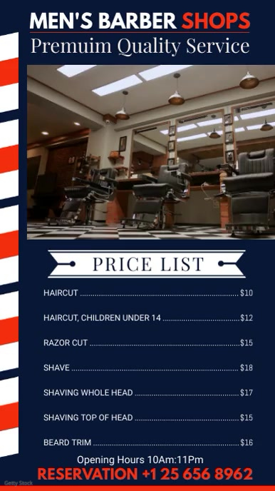 Blue Men's Barber Shop Price List