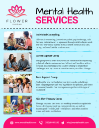 Blue Mental Health Services Flyer template