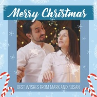 Blue Merry Christmas Wish Square Video Persegi (1:1) template