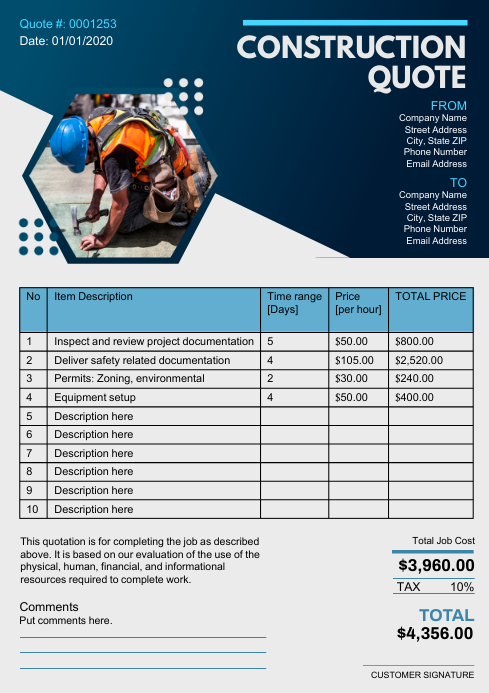 Blue Modern Construction Company Invoice A4 T template