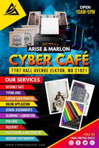 Blue Modern Cyber Cafe Services Flyer Templat Poster template