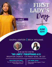 Blue Modern First Lady Day Church Flyer Templ 传单(美国信函) template