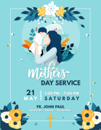 Blue Mother's Day Church Service Flyer template
