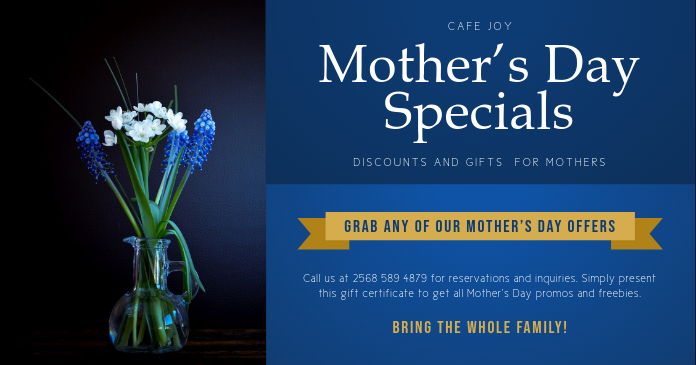 Blue Mother's Day Special Discount Gift Certificate