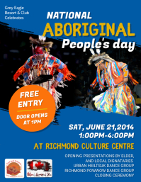Blue National Aboriginal Day Celebrations Fly Flyer (US Letter) template