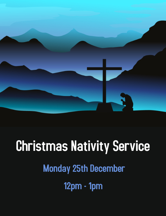 blue nativity scene template postermywall